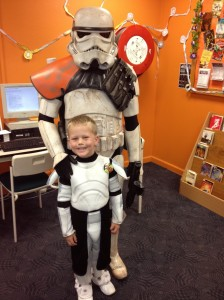 Tom with the Sand trooper - it took him over an hour to get the nerve to go anywhere near him!!! :D