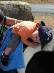 J cuddling a horse when he was one.