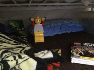 T's haven under his bed - his safe place.